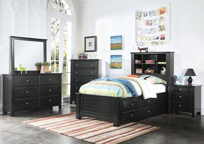 Mallowsea Black Twin Bed