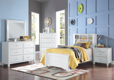 Mallowsea White Twin Bed w/Dresser and Mirror