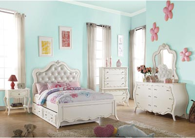 Image for Edalene PU & Pearl White Full Bed