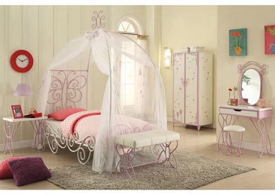 Image for Priya II White/Purple Twin Canopy Bed
