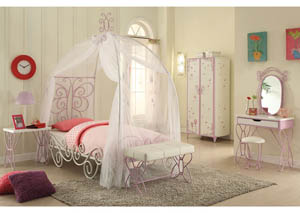 Priya II White/Purple Full Canopy Bed