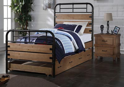 Image for Adams Antique Oak Twin Bed