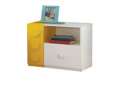 Playground White & Multi-Color Nightstand,Acme