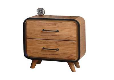 Carla Oak & Black Nightstand,Acme