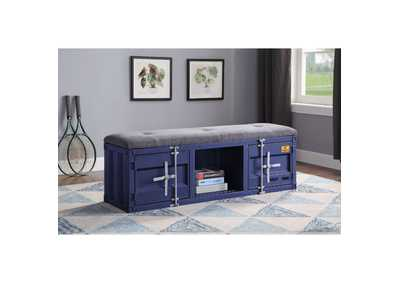 Image for Cargo Gray Fabric & Blue Bench