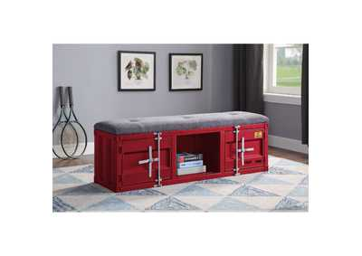 Image for Cargo Gray Fabric & Red Bench