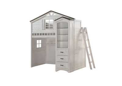 Tree House Weathered White & Washed Gray Loft Bed