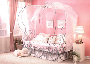 Image for Priya Silver Twin Canopy Bed