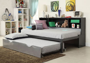 Image for Renell Black/Silver Twin Bed w/Bookcase & Trundle