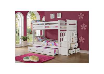Image for Allentown White Twin/Twin Storage Bunk Bed w/Ladder & Trundle
