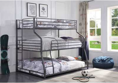 Caius II Gunmetal Bunk Bed - Triple Twin/Full/Queen,Acme
