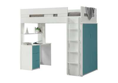 Nerice White & Teal Loft Bed,Acme