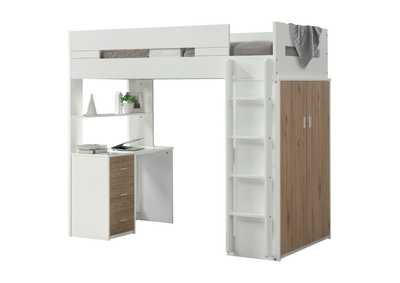 Nerice White/Oak Loft Bed