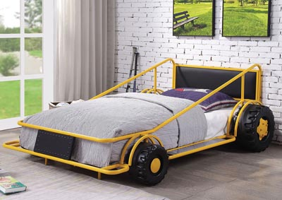 Taban Yellow & Black PU Twin Bed