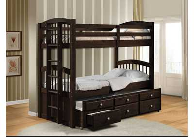 Micah Espresso Twin/Twin Bunk Bed & Trundle,Acme