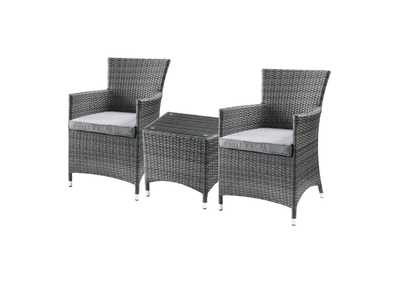 Image for Tashelle Gray Fabric & Gray Wicker Patio Bistro Set