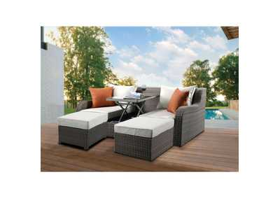 Salena Beige Fabric & Gray Wicker Patio Sofa & Ottoman