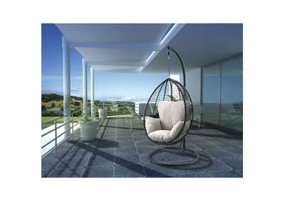 Image for Simona Beige Fabric & Black Wicker Patio Swing Chair