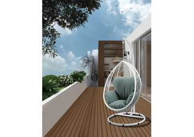 Image for Simona Green Fabric & White Wicker Patio Swing Chair
