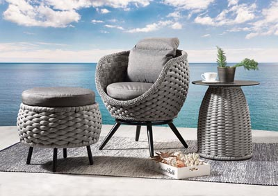 Image for Egil Fabric & Gray Wicker Patio Chair