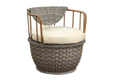 Image for Eskil Fabric & 2-Tone Gray Wicker Patio Chair