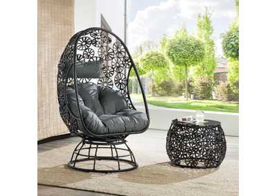 Image for Hikre Charcaol/Black Patio Lounge Chair & Side Table