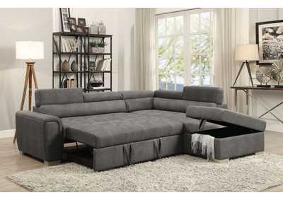 Image for Thelma Gray Polished Microfiber Sectional Sofa