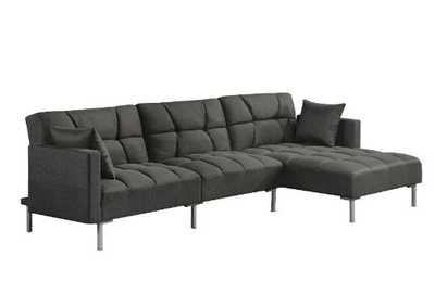 Image for Duzzy Dark Gray Fabric Sectional Sofa