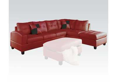 Image for Kiva Red Sectional Sofa (Reversible w/2 Pillows)