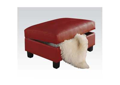Image for Kiva Red Bonded Leather Match Ottoman