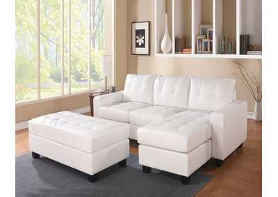 Image for Lyssa White Bonded Leather Match Sectional Sofa