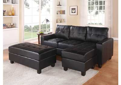 Image for Lyssa Black Sectional Sofa & Ottoman