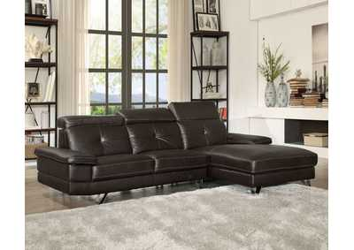Aeryn Espresso PU Sectional Sofa