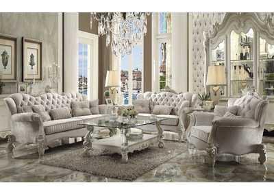 Image for Versailles Ivory Velvet and Bone White Loveseat w/3 Pillows