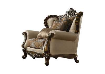 Latisha Tan, Pattern Fabric & Antique Oak Chair,Acme