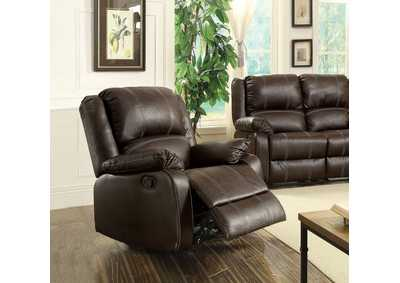 Image for Zuriel Brown PU Rocker Recliner