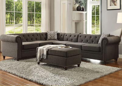 Image for Aurelia II Charcoal Ottoman (No Storage)