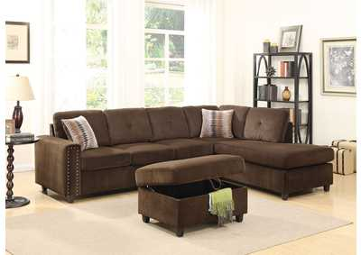 Belville Chocolate Velvet Sectional Sofa