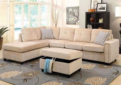 Image for Belville Beige Ottoman