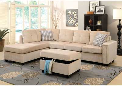 Image for Belville Beige Sectional Sofa w/Pillow
