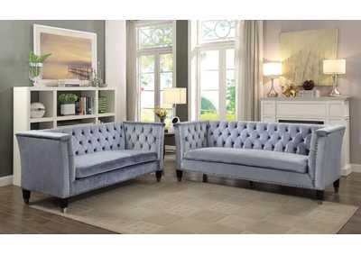 Honor Blue-Gray Velvet Sofa,Acme