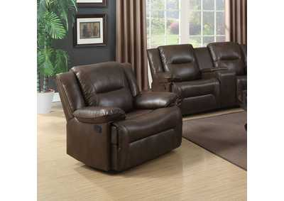 Romulus Espresso Leather-Aire Match Glider Recliner,Acme