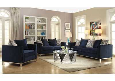 Phaedra Blue Fabric Sofa