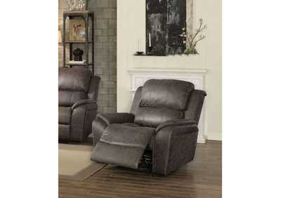 Barnaby Gray Polished Microfiber Recliner,Acme