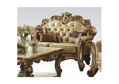 Image for Vendome Bone PU & Gold Patina Loveseat