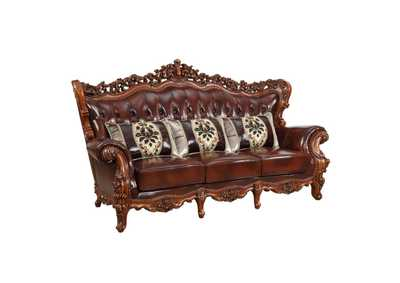 Image for Eustoma Cherry Top Grain Leather Match & Walnut Sofa
