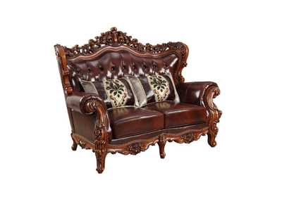 Image for Eustoma Cherry Top Grain Leather Match & Walnut Loveseat