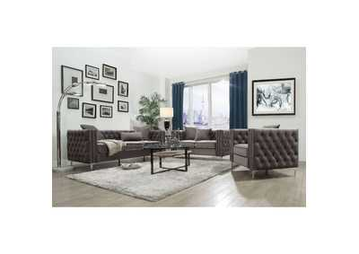 Gillian II Dark Gray Velvet Sofa