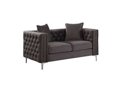 Gillian II Dark Gray Velvet Loveseat