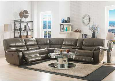Brax Taupe Leather-Gel Sectional Sofa